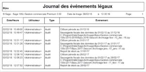 Sage 100cloud Gestion commerciale - Journal d'évènement légal