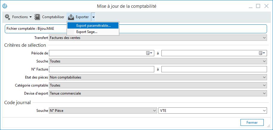 Sage 100c Gestion commerciale - Mise à jour comptable - Format Paramétrable