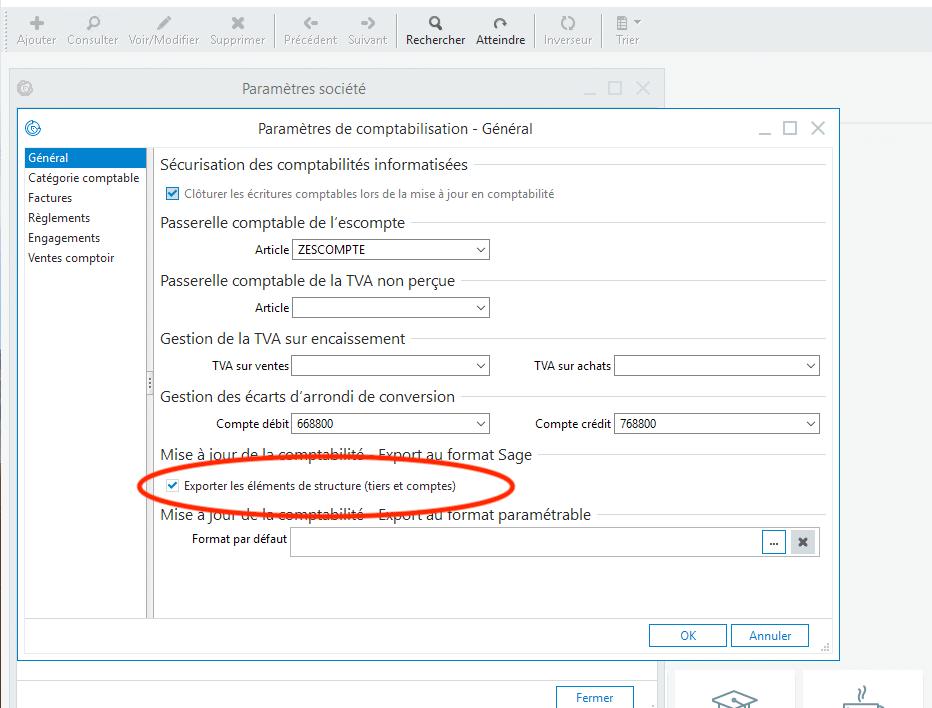 Mise à jour comptable - Export au format Sage - Enrichissement du fichier