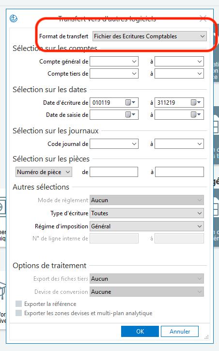 Import/Export format FEC des écritures