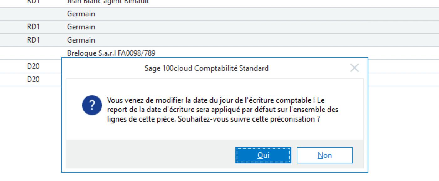Sage 100cloud Comptabilité - Répercussion de la modification de la date d'écriture sur toutes les lignes de l'écriture