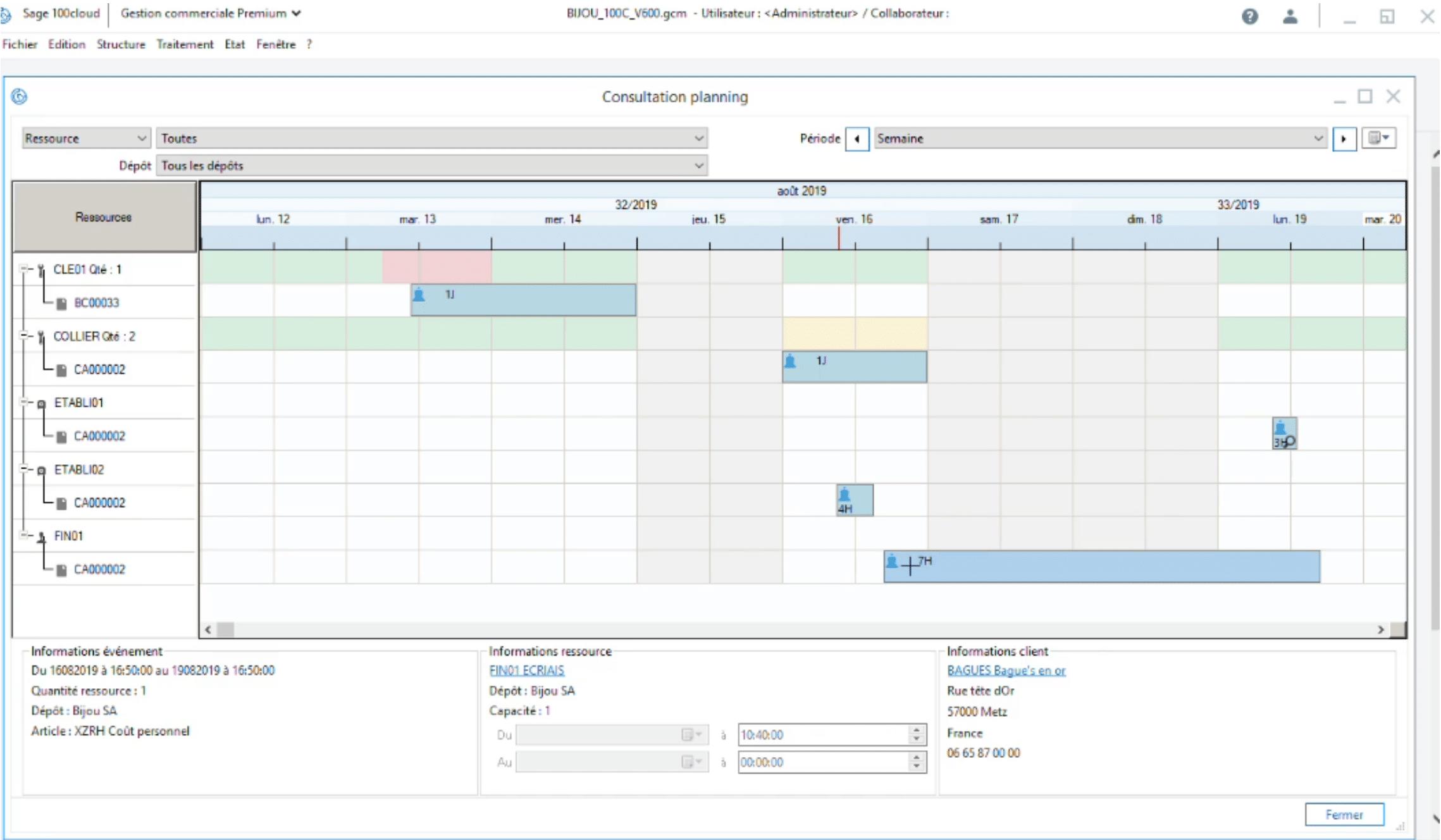 Sage 100cloud Gestion commaerciale v6 - Glisser/déposer dans le planning des ressources