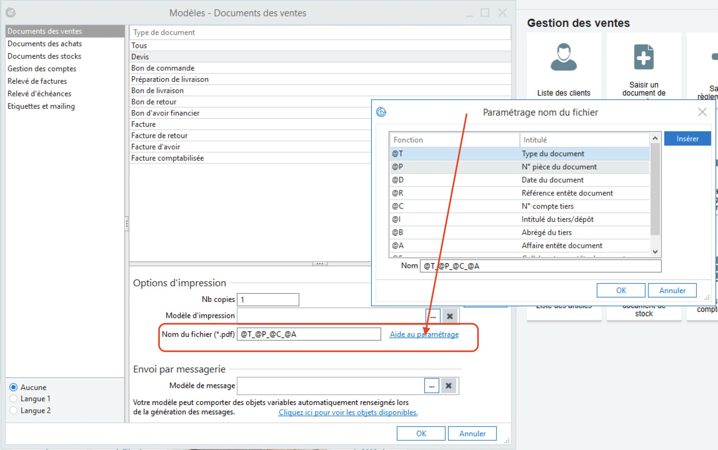Sage 100cloud Gestion Commerciale v6 - Personnalisation du nom du fichier PDF obtenu en impression des documents