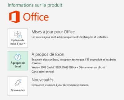 Office - vérification version
