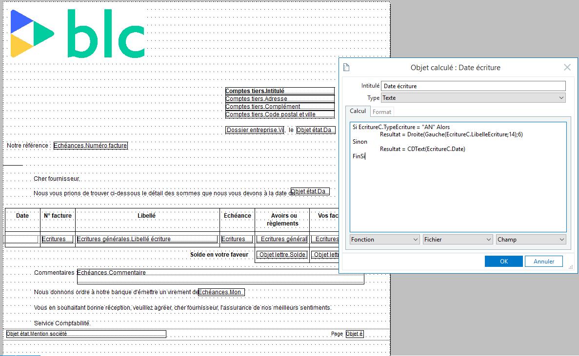 Objet calculé : Sage 100cloud - Récupérer la date d'origine dans les formats d'édition